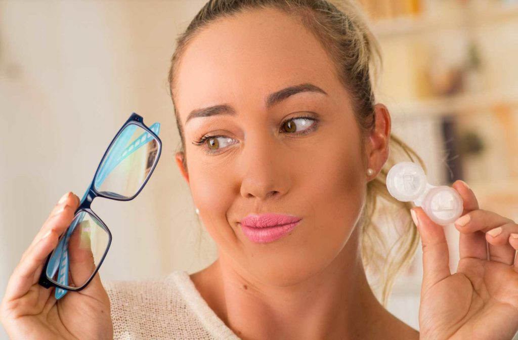 Woman with glasses and contacts for myopia